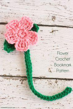 Cute little flower crochet bookmark pattern