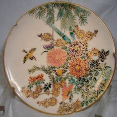 Your place to buy and sell all things handmade Chrysanthemums, Japanese Pottery, Antique Jewelry, Stuff To Do, Bamboo, Birds, Hand Painted, Etsy Shop, Plates