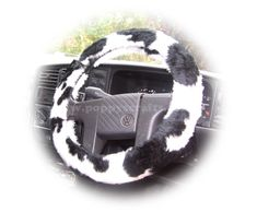 Black and White Cow print fuzzy faux fur car steering wheel cover furry and fluffy White Cow, Black And White, Fuzzy Steering Wheel Cover, Car Gadgets, Cow Print, Car Accessories, Baby Car Seats, Faux Fur, Girl Things