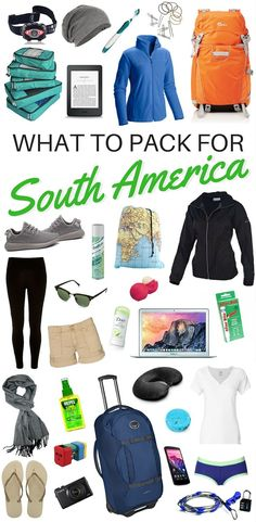 A complete packing list for South America. This list covers what to pack for a long backpacking trip in South America spanning various climates.
