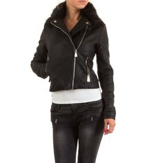 Stylische Damen Biker Jacke aus Kunstleder mit Kunstfellkragen. Die Zip-Details runden den Look vollends ab.