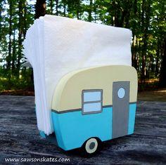 Blue DIY Painted Wooden Vintage Camper Napkin Holder