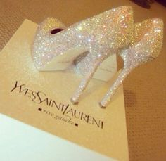 Shoes, gorgeous crystal YSL's for your wedding day!