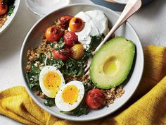 Farro Breakfast Bowl | Although vegetarian dishes are sometimes associated with complicated ingredients and techniques, these simple recipes are here to show otherwise. Totally veggie-friendly, and flavor packed, these easy recipes will satisfy everyone in the family, whether vegetarian or not. If you're looking for an easy-pack lunch then look no further than Spinach, Hummus, and Bell Pepper Wraps or Greek Spaghetti Squash Toss. If you're looking for a dinner to please everyone at the…