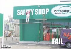 Safety Shop - apparently the sign guy works elsewhere #Safety #Fail