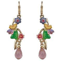 Kirks Folly Fairy Flying High Tea Party Leverback Earrings Goldltone   eBay