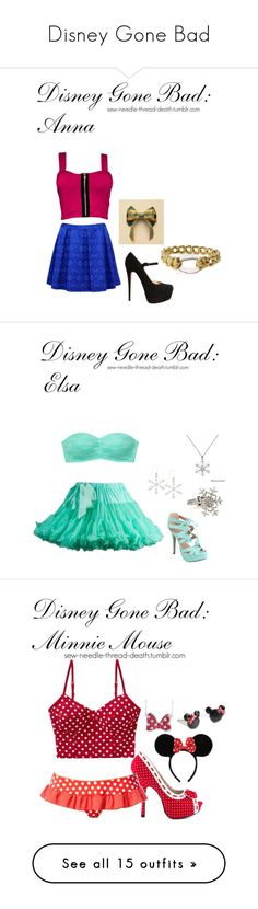 """Disney Gone Bad"" by brianathecrazymofo ❤ liked on Polyvore featuring Forever New, Christian Louboutin, Disney, Alexis Bittar, Victoria's Secret PINK, Fiebiger, Kate Bissett, CO, Bettie Page and Ultimate Beach"
