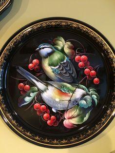 Tole Decorative Paintings, Tole Painting, Folk Art Flowers, Flower Art, Norwegian Rosemaling, Russian Folk Art, Russian Painting, Painted Trays, One Stroke Painting
