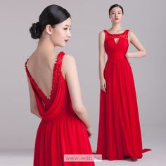 Sexy with flower decoration deep v-neck back chiffon floor-length dress $174.99