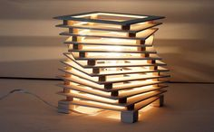 Table lamp in wood mod. CORKSCREW by Ideesign on Etsy