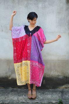 Upcycled Vintage Dress, Vintage Recycled Dress, Vintage handkerchief Kaftan, Bandana Dress, Bohemian Kaftan, Maxi Dress, Recycled Bandana by hisandhervintage on Etsy