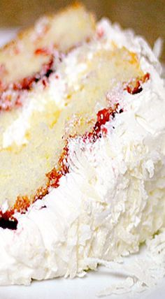 Raspberry Lemon Coconut Cake-Love the raspberry lemon cheesecake from Cheesecake Factory and coconut so I'm gonna combine it all and make this cake. Sounds delicious!