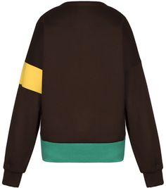 Brown pink V-neck sweater, with green hemline and yellow detail on the sleeve. 100% wool Dry clean only Preorder will be shipped in ten days after the payment has been processed. Made in Georgia