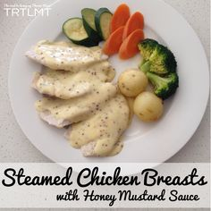 Steamed Chicken Breasts with Honey Mustard Sauce - Thermomix Steam Chicken Recipe, Chicken Recipes, Steamed Chicken, Steamed Food, Chicken Curry, Bellini Recipe, Steam Recipes, Honey Mustard Sauce, Honey Sauce