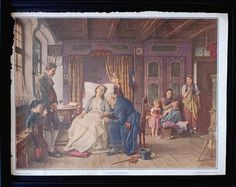 "Antique Medical Art Lithograph, Macomb Swiss Artist Benjamin VAUTIER Gothic Death Scene, ""Anxious Hours"", 1925 Pictorial Review"