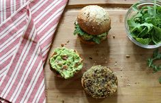 quinoa & black bean burger with a smoky avocado spread - what's cooking good looking