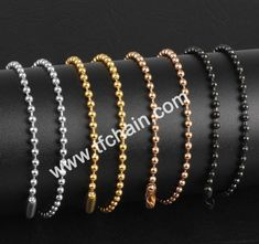ball chain with connector,silver color,gold color,copper color and black color necklace #ballchain #beadchain #militarydogtagballchain #militaryballchain #stainlessteelballchain #ballchainnecklace #ballchainspool #beadchainspool  #tfchain #2.4mmballchain #2.0mmballchain Dog Tags Military, Military Ball, Copper Color, Silver Color, Ball Chain, Metal, Gold, Accessories, Black
