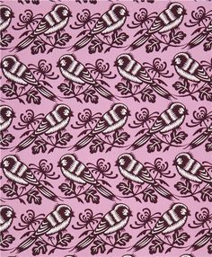 orchid violet Chirp bird and flower animal fabric by Michael Miller 4
