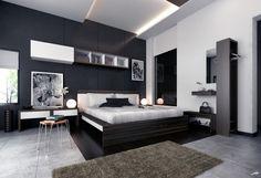 Modern Bedroom Idea for Women with Black Wall and White Black Bookshelf