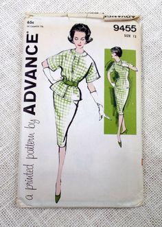 b7dd0478 Advance 9455 Vintage Pattern 1960s suit Mad Men Jackie Kennedy Audrey  Hepburn Bust 32 wiggle dress kimono sleeve jacket