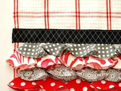 make your own ruffles from fabric circles....cute dishtowel