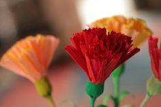 DIY - Anleitung für schöne Nelken aus Krepppapier - unkompliziert aber braucht ein wenig Geduld.