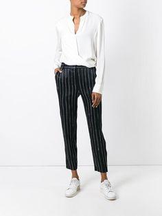 DKNY атласные брюки в тонкую полоску