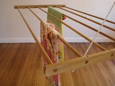 Drying rack - dry or air washing indoors, ceiling suspended on pulleys LOVE THESE Diy Clothes Rack, Clothes Drying Racks, Pantry Laundry Room, Laundry Rooms, Old Cribs, Laundry Solutions, Drying Rack Laundry, Small Apartment Living, Modern Farmhouse Bathroom