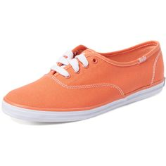 Keds Champion Canvas Sneaker ($29) ❤ liked on Polyvore featuring shoes, sneakers, orange, orange sneakers, low tops, lace up sneakers, lacing sneakers and keds sneakers