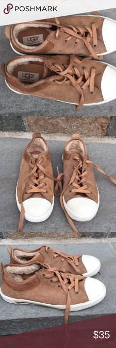 Girls Brown Suede UGG Sneakers 2 Girls Brown Suede UGG Sneakers, size 2, lace up the front, lined with shearling wool, pictures are part of the description. UGG Shoes Sneakers