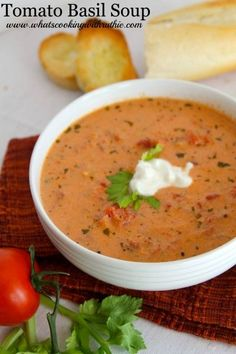 Skinny Tomato Basil Soup is simple to make and tastes just as good as full calorie version!  from www.whatscookingwithruthie.com #recipes #soup