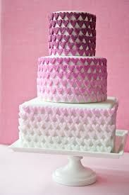 Pink heart wedding cake