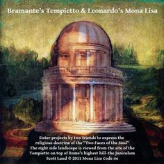 Bramante's architectural achievement was matched by Leonardo's painting of the Mona Lisa, which was a personification of the small chapel which sits at the top of the Janiculum hill--the site of the mythical citadel of the Sun-god Janus. #MonaLisaCode #ScottLund #LeonardoDaVinci #TheMonaLisa #MonaLisa #History #ArtHistory #Stars #Astronomy #Entertainment #Bramante #Tempietto #Rome Scott Lund © 2010 | All Rights Reserved | Mona Lisa Code (SM)