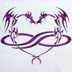 Dragon infinite heart tattoo- spence wants us to get a tattoo Kinda like this Tribal Dragon Tattoos, Celtic Dragon Tattoos, Small Dragon Tattoos, Japanese Dragon Tattoos, Dragon Tattoo Designs, Feather Tattoos, Body Art Tattoos, Tattoo Drawings, Tatoos