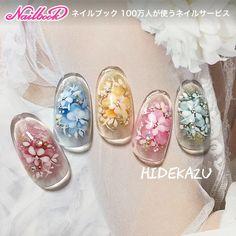 Lace Nails, Bling Nails, Flower Nails, Flower Nail Designs, Nail Art Designs, Almond Nails Designs Summer, Japan Nail Art, Floral Nail Art, Japanese Nails
