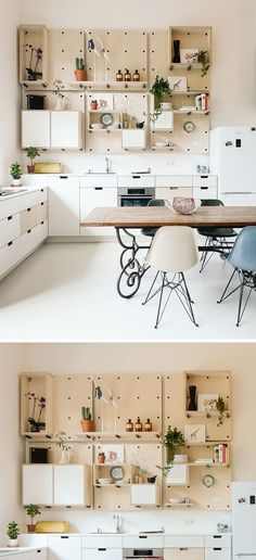9 Ideas For Using Pegboard And Dowels To Create Open Shelving // The pegboard shelving makes it possible to have shelves and boxes in this kitchen, that can be rearranged whenever the owners feel they need a change.