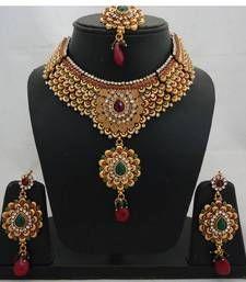 Vatika Antique Polki Bridal Necklace Set 3 Necklace @ www.mirraw.com