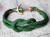 Sailor knot bracelet with anchor closure