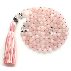 8mm Rose Quartz 108 Tibetan Style Buddhist Malas, Mala Necklace, Gemstone Mala Beads, Japa Mantra, Rosary for Prayer Meditation Yoga