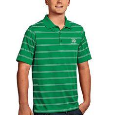 North Dakota Antigua Deluxe Stripe Polo - Green