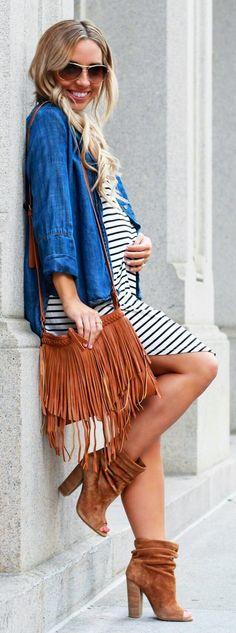 e91d99e8341c1 Denim Shirt  amp  White Striped Dress  amp  Brown Fringe Shoulder Bag  amp   Brown
