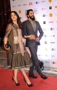 Photos of Riteish-Genelia that prove true love exists Genelia D'souza, Indian Celebrities, Embroidery Dress, Film Festival, Frocks, Maybelline, True Love, Peplum Dress, Celebrity Style