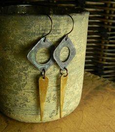 Hammered Brass Earrings Mixed Metal Verdigris Patina OOAK   ChrysalisJewelry - Jewelry on ArtFire