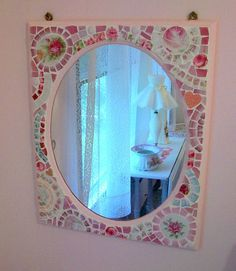 Sweet Shabby Pink Mirror Rose China Mosaic Tile by hillspeak, via Flickr