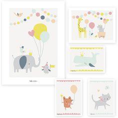 Lot de 2 affiches et 3 cartes Animal party