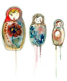 Russian Dolls Art Print