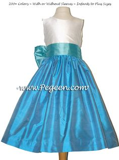 TIFFANY BLUE AND TURQUOISE SILK and TULLE FLOWER GIRL DRESSES