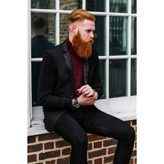 Gwilym Pugh - full thick red beard mustache beards bearded man men mens' fashion clothing style dapper suit suits hair cut hairstyle barber redhead ginger #beardsforever
