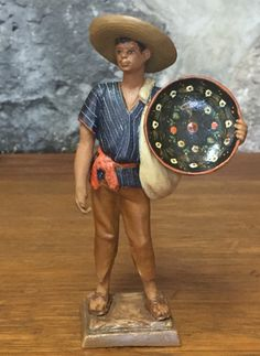 Vintage Mexican Pottery Figure, from Tlaquepaque, with a Man holding a Hand Painted Batea. Exquisite!!!