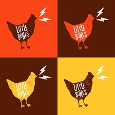 One Plus One's design work for Little Bones is on point. Bright color palette jumps out with a rustic vibe. It's a melding of vibrant modern and shabby chic design styles. I love the chicken brand mark and type treatment. Quite memorable. Food Branding, Food Packaging Design, Logo Food, Branding Design, Logo Design, Graphic Design, Chicken Brands, Chicken Logo, Don Pollo